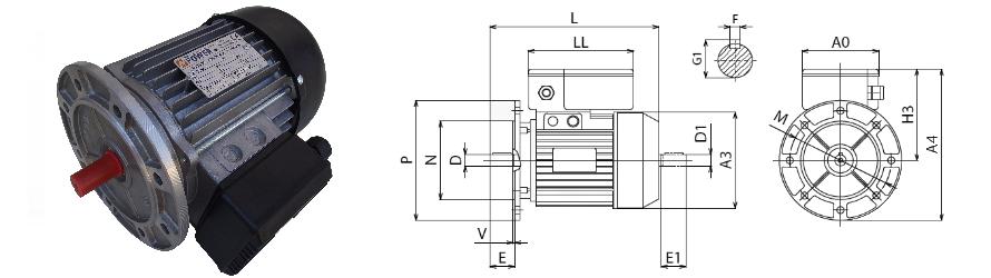 Piemme B5 egyfázisú villanymotor és körvonalrajz