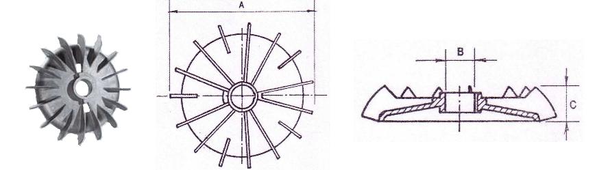 Alumínium ventilátor és körvonalrajz