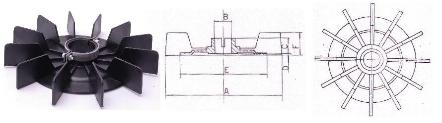 Ventilátor G-Típus és körvonalrajz
