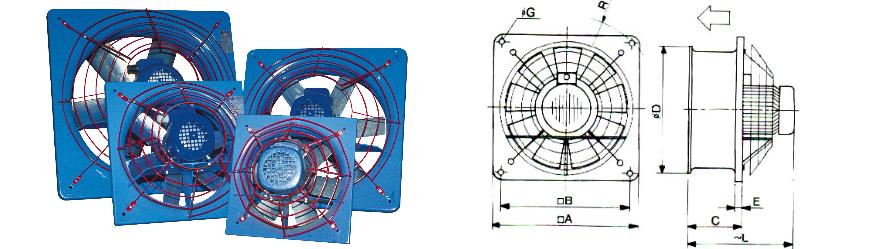 Falax axiális ventilátor és körvonalrajz