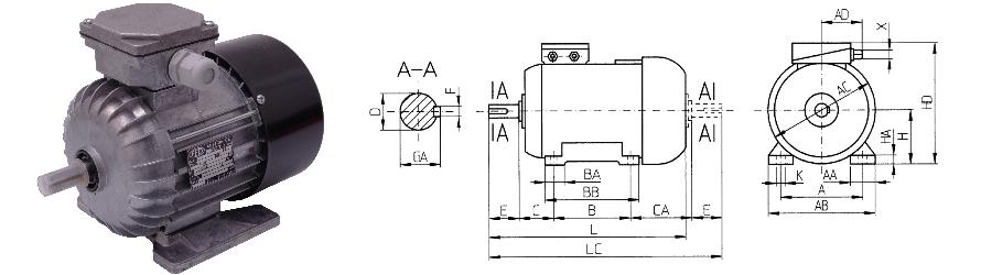 FFD B3 háromfázisú villanymotor és körvonalrajz