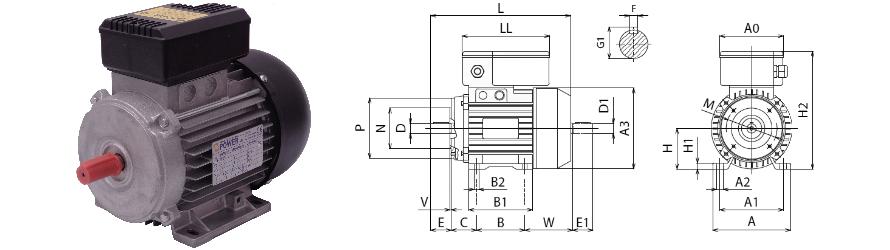 Piemme B3_B14 egyfázisú villanymotor és körvonalrajz