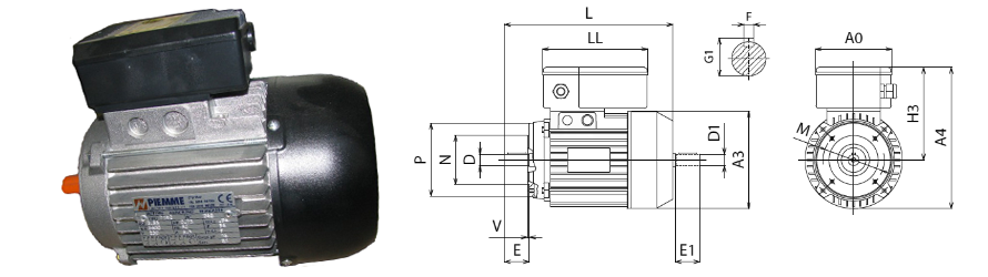 Piemme B14 egyfázisú villanymotor és körvonalrajz