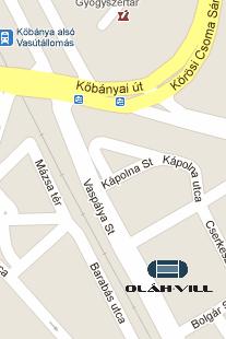 Térkép: az Oláh-Vill Kft telephelye