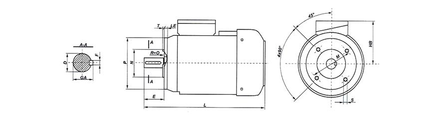 FFD B14 háromfázisú villanymotor és körvonalrajz