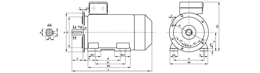 FFD B35 200-355 háromfázisú villanymotor és körvonalrajz