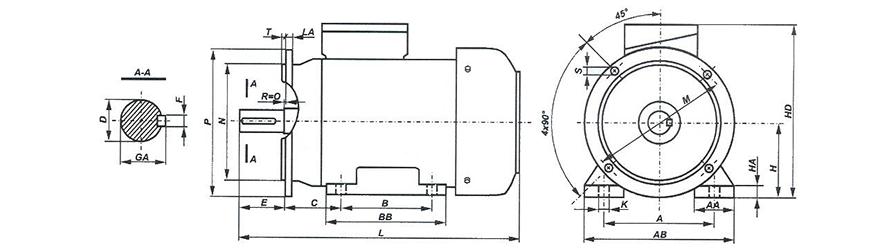 FFD B35 80-180 háromfázisú villanymotor és körvonalrajz