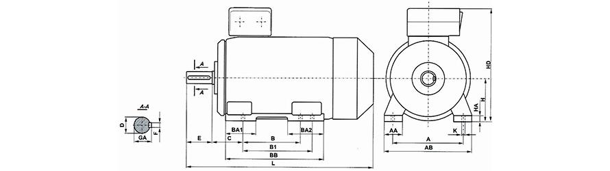 FFD B3 200-355 háromfázisú villanymotor és körvonalrajz