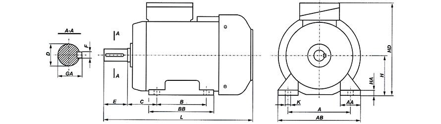 FFD B3 80-180 háromfázisú villanymotor és körvonalrajz