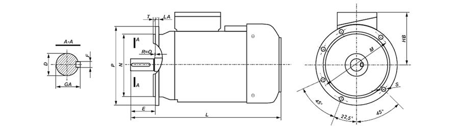 FFD B5 háromfázisú villanymotor és körvonalrajz